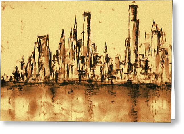 Manhattan Drawings Greeting Cards - New York City 79 - Oil Painting Greeting Card by Peter Fine Art Gallery  - Paintings Photos Digital Art