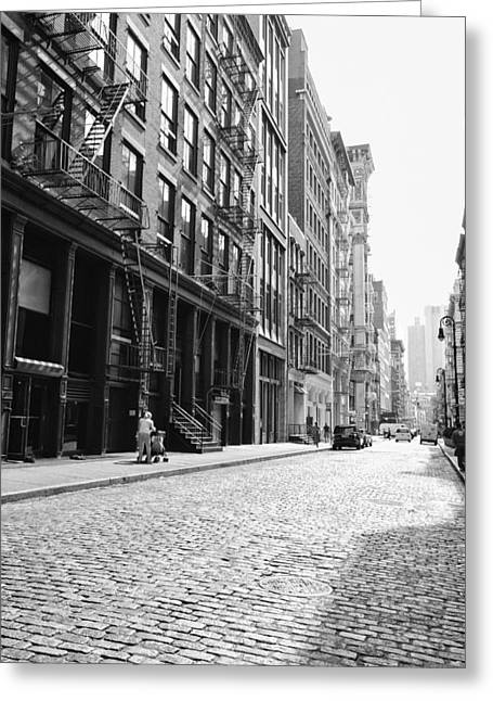 Fire Escapes Greeting Cards - New York City Afternoon - Cobblestones in the Sunlight Greeting Card by Vivienne Gucwa