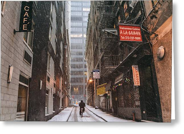 Financial Greeting Cards - New York City Alley in the Snow Greeting Card by Vivienne Gucwa