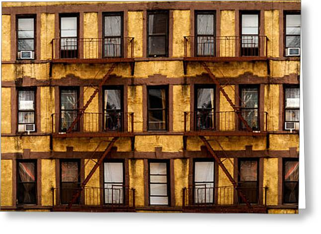 Symmetry Greeting Cards - New York City apartment building study Greeting Card by Amy Cicconi