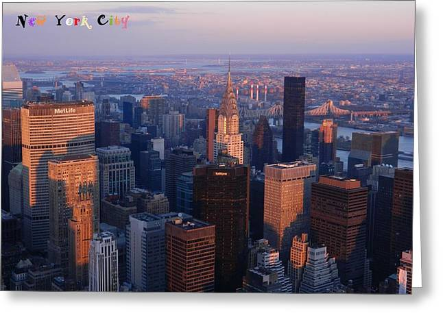Sunset Framed Prints Digital Greeting Cards - New York City At Dusk Greeting Card by Emmy Marie Vickers