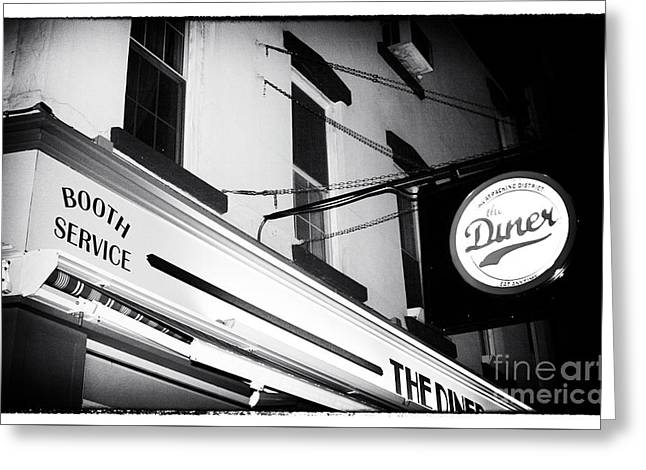 Night Diner Prints Greeting Cards - New York City At Night Diner Noir Greeting Card by John Rizzuto