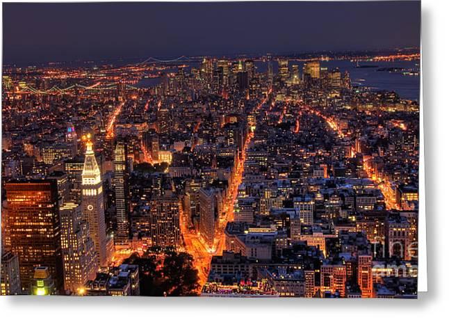 New York City Greeting Cards - New York City at night Greeting Card by Oscar Gutierrez