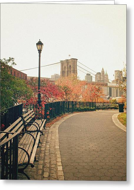 New York Photo Greeting Cards - New York City - Autumn - Brooklyn Bridge and Foliage Greeting Card by Vivienne Gucwa
