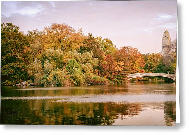 Sony Greeting Cards - New York City - Autumn - Central Park - Lake and Bow Bridge Greeting Card by Vivienne Gucwa