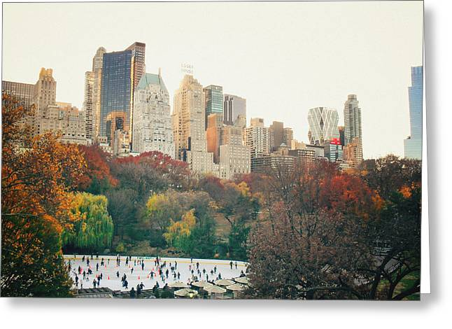 New York Photo Greeting Cards - New York City - Autumn in Central Park - Trees and Ice Skating Rink Greeting Card by Vivienne Gucwa