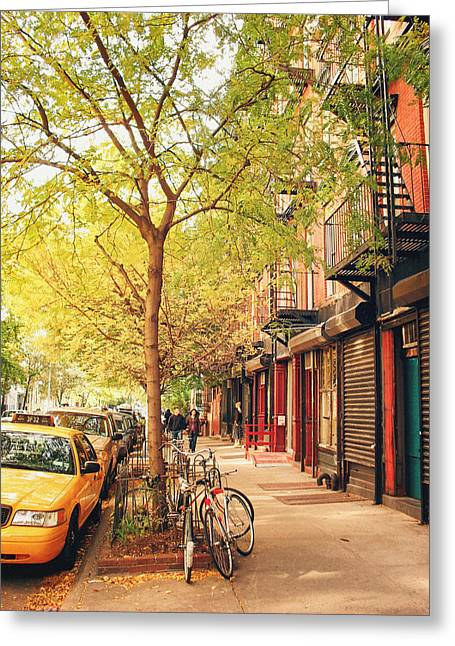 New York Photo Greeting Cards - New York City - Autumn in the East Village  Greeting Card by Vivienne Gucwa