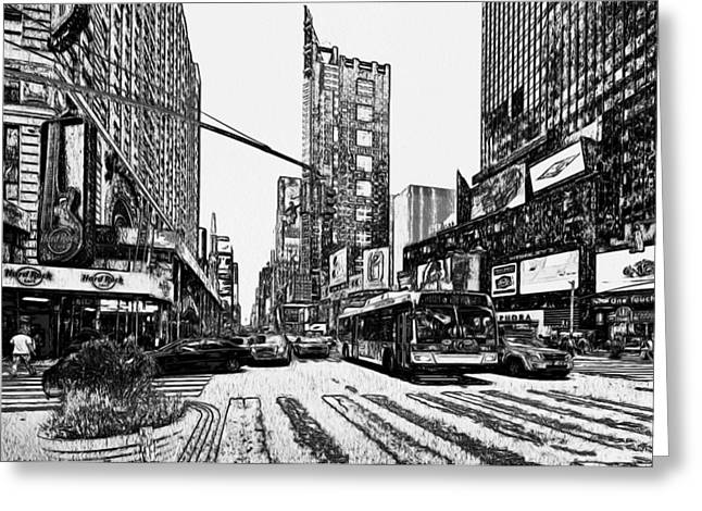 Live Art Greeting Cards - New York City Black and White 1 Greeting Card by Yury Malkov