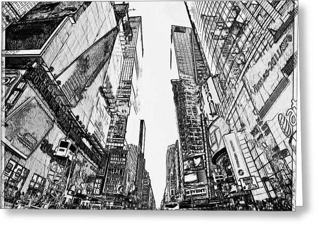 Live Art Greeting Cards - New York City Black and White 2 Greeting Card by Yury Malkov