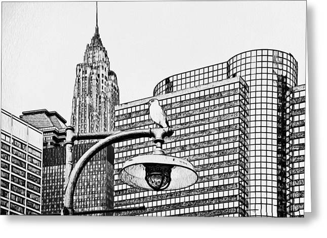Live Art Greeting Cards - New York City Black and White 3 Greeting Card by Yury Malkov