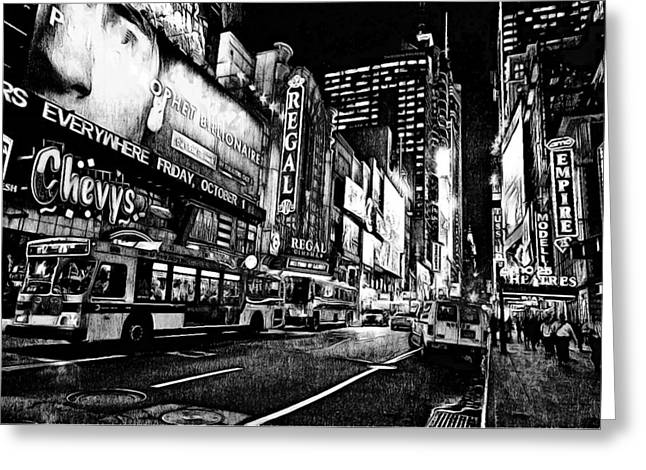 Live Art Greeting Cards - New York City Black and White 5 Greeting Card by Yury Malkov