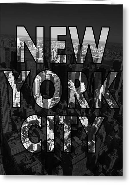 Aerial Greeting Cards - New York City - Black Greeting Card by Nicklas Gustafsson