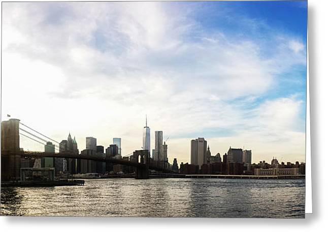 Skyscape Greeting Cards - New York City Bridges Greeting Card by Nicklas Gustafsson
