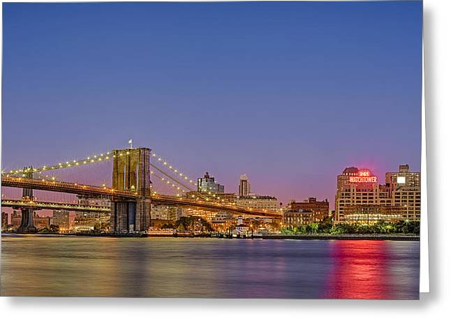 Landscapes Photographs Greeting Cards - New York City Bridges Greeting Card by Susan Candelario