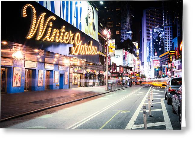 New York City - Broadway Lights And Times Square Greeting Card by Vivienne Gucwa