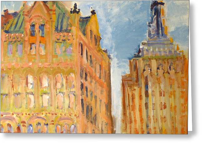 New York City Buildings 2 Greeting Card by Edward Ching