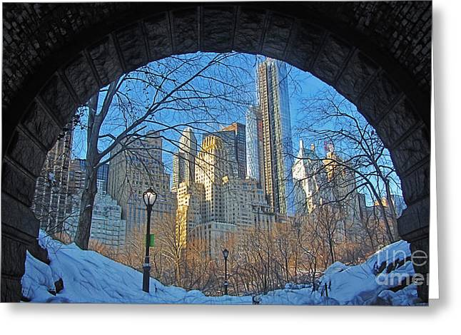 Framed Winter Snow Print Greeting Cards - New York City Buildings seen through the Arch Greeting Card by Nishanth Gopinathan