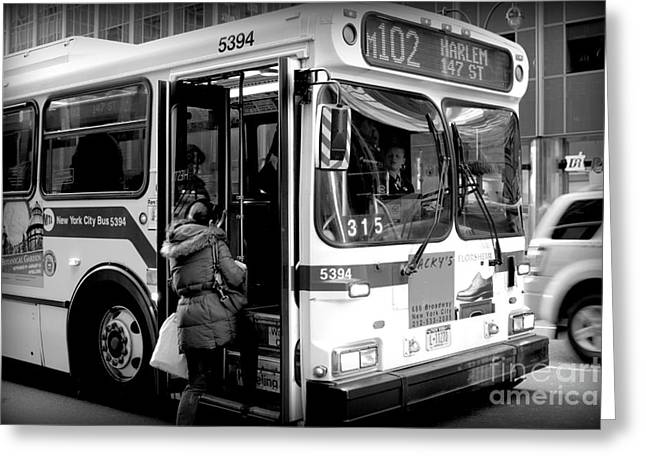 Busstop Greeting Cards - New York City Bus Greeting Card by Miriam Danar