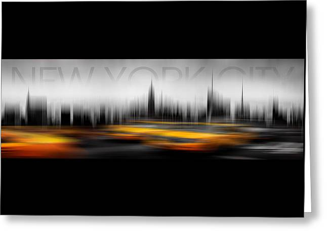 New York City Cabs Abstract Greeting Card by Az Jackson