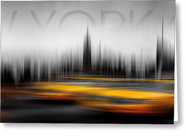 Signed Digital Greeting Cards - New York City Cabs Abstract Greeting Card by Az Jackson