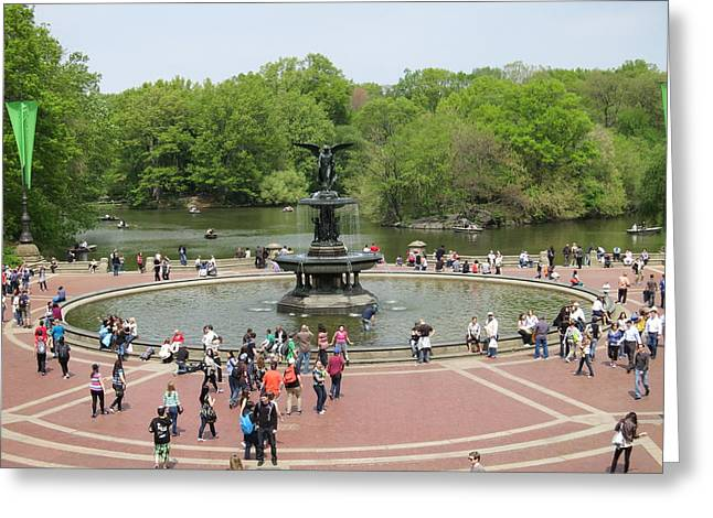 Fountain Greeting Cards - New York City - Central Park - 121211 Greeting Card by DC Photographer