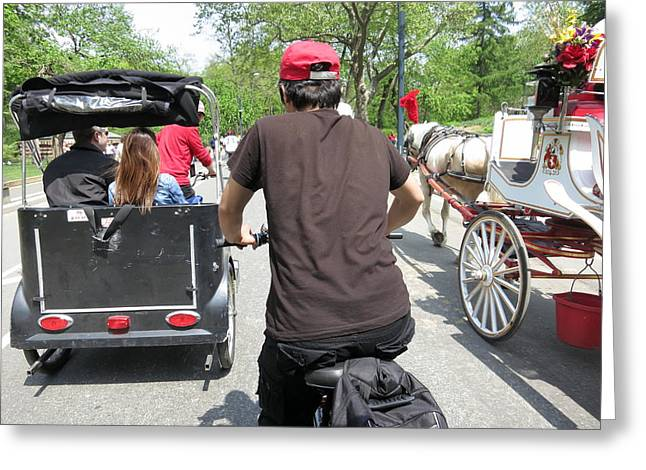 Carriage Greeting Cards - New York City - Central Park - 12123 Greeting Card by DC Photographer