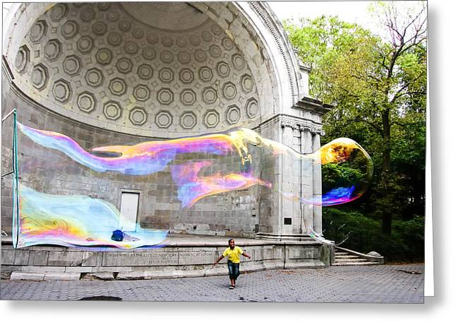 Outdoor Theater Greeting Cards - New York City - Central Park Bubble Chasing Greeting Card by Russell Mancuso