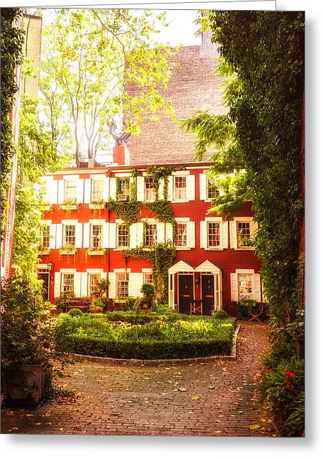 Nyc Architecture Greeting Cards - New York City - Charming Townhouses Greeting Card by Vivienne Gucwa