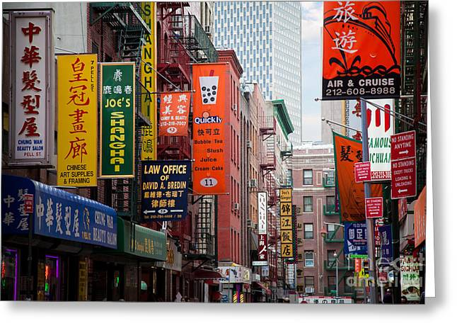 Signed Photographs Greeting Cards - New York City Chinatown Greeting Card by Inge Johnsson