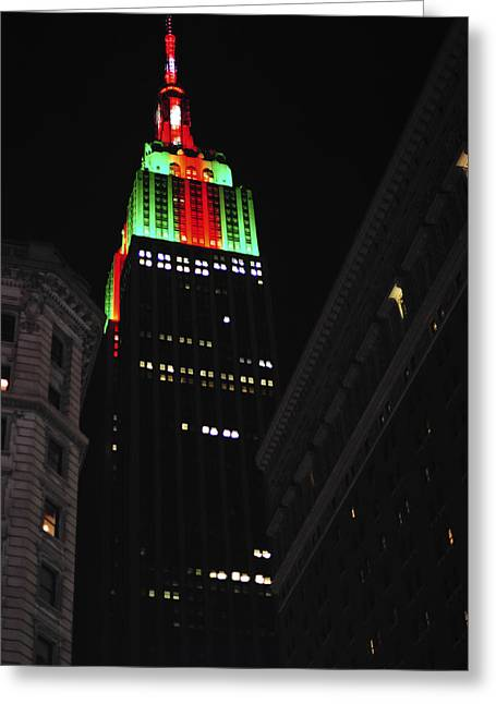 New York City Christmas Empire State Building Greeting Card by Terry DeLuco