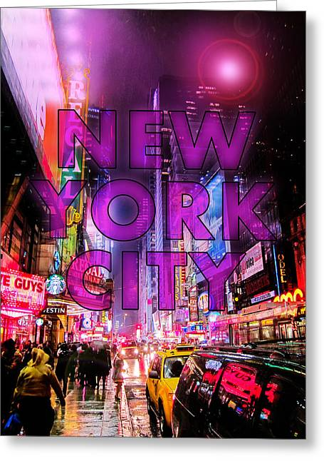 Neon Greeting Cards - New York City - Color Greeting Card by Nicklas Gustafsson