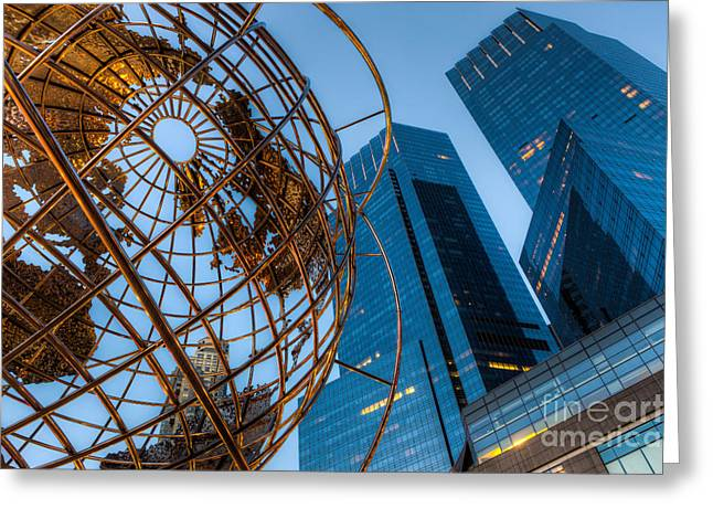 Steel Sculpture Greeting Cards - New York City Columbus Circle Landmarks I Greeting Card by Clarence Holmes