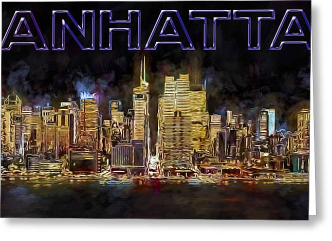 New York City Greeting Cards - New York City Comes Alive At Sundown Greeting Card by Susan Candelario