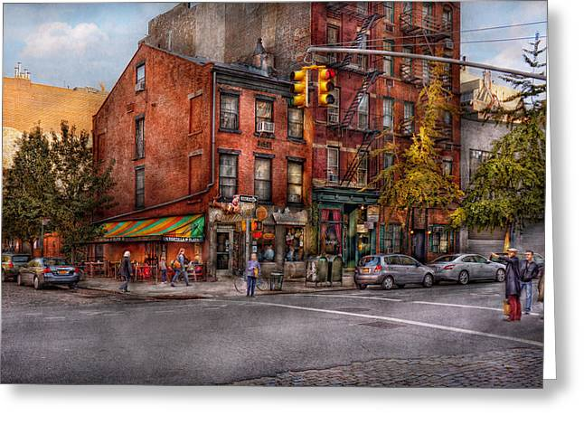 Crosswalk Greeting Cards - New York - City - Corner of One way and This way Greeting Card by Mike Savad