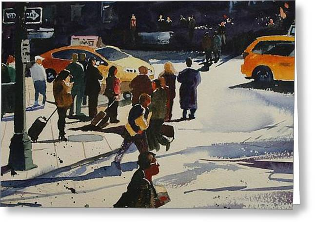 Crosswalk Greeting Cards - New York City Crosswalk Greeting Card by Ron Bigony