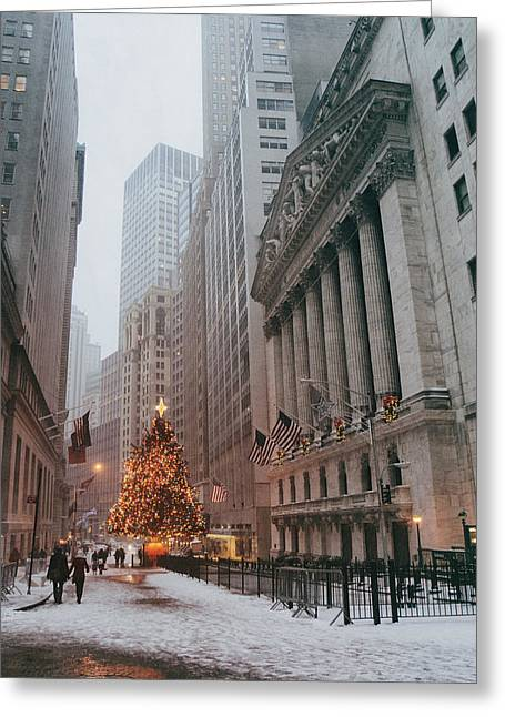 Financial Greeting Cards - New York City - Festive Holiday Tree in the Snow - Financial District Greeting Card by Vivienne Gucwa