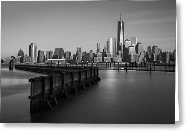 Blue Hour Greeting Cards - New York City Financial District BW Greeting Card by Susan Candelario