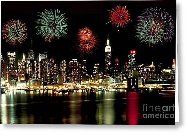 Independance Day Greeting Cards - New York City Fourth of July Greeting Card by Anthony Sacco