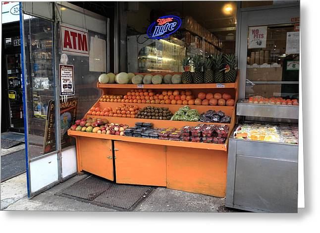 Apple Art Greeting Cards - New York City Fruit Stand Greeting Card by Frank Romeo