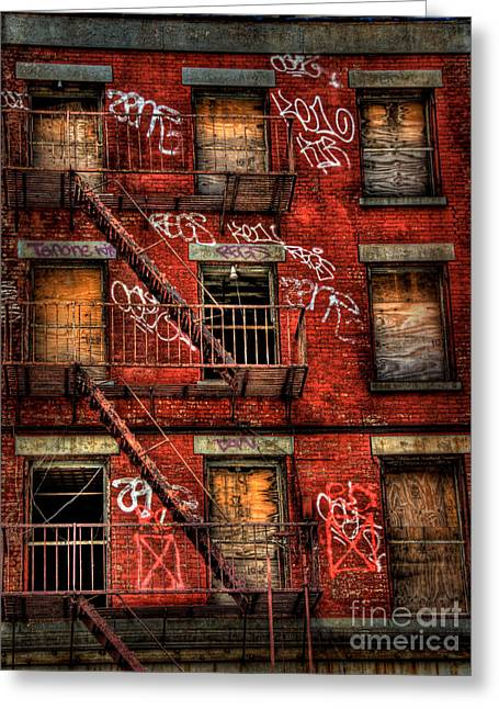 Run Down Greeting Cards - New York City Graffiti Building Greeting Card by Amy Cicconi