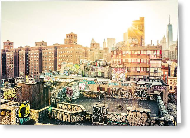New York City - Graffiti Rooftops Of Chinatown At Sunset Greeting Card by Vivienne Gucwa