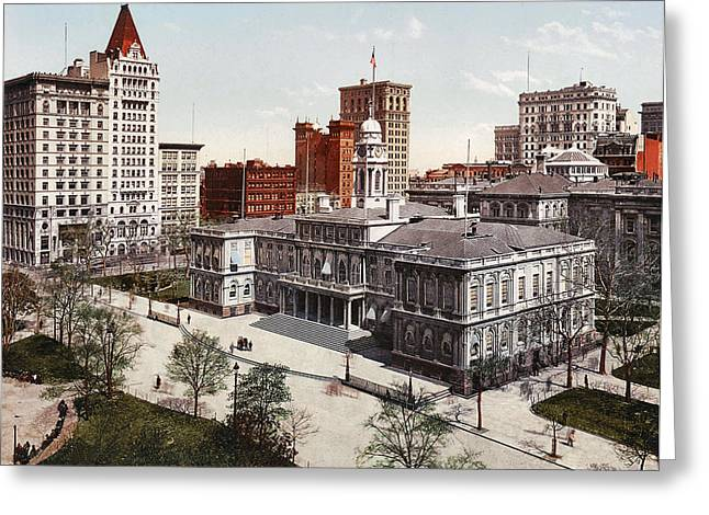 City Hall Greeting Cards - New York City Hall 1900 Greeting Card by Unknown