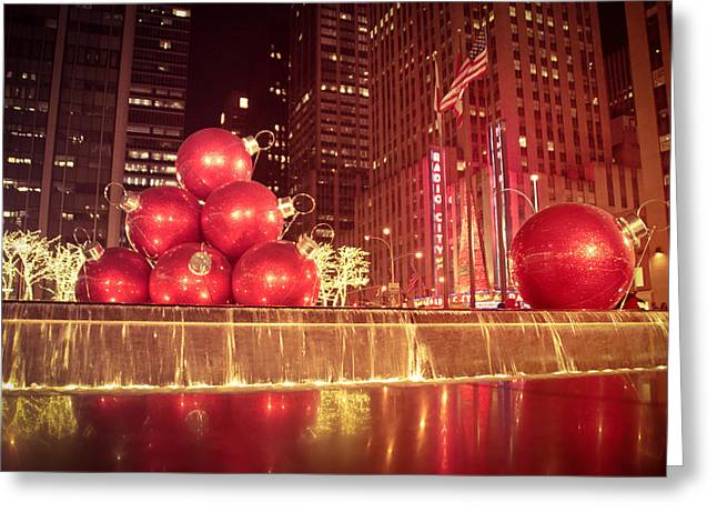 New York City Greeting Cards - New York City Holiday Decorations Greeting Card by Vivienne Gucwa