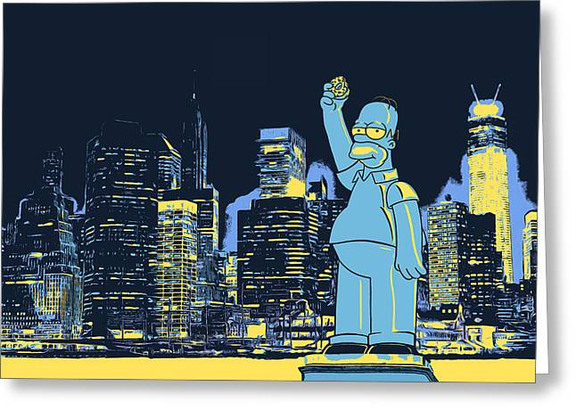 Apple Greeting Cards - New York City Homer Statue Greeting Card by - BaluX -