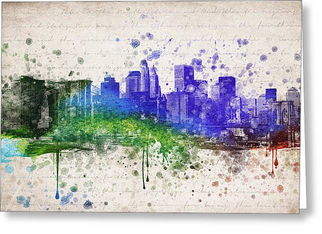 Skylines Mixed Media Greeting Cards - New York City in Color Greeting Card by Aged Pixel