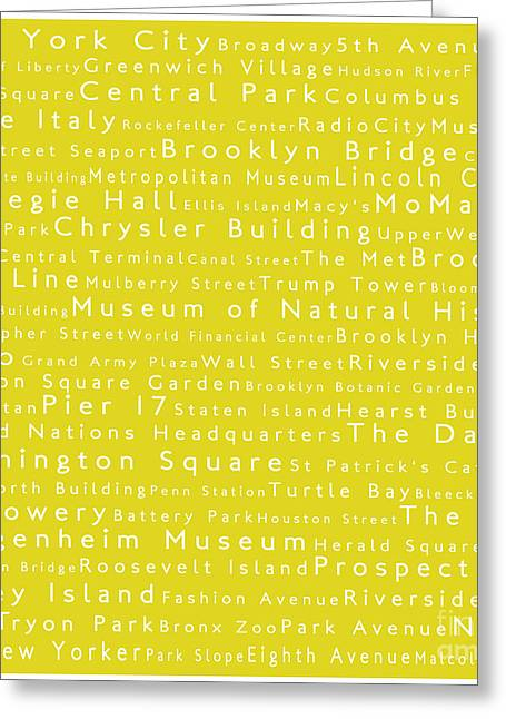 Lincoln Center Greeting Cards - New York City in Words Yellow Greeting Card by Sabine Jacobs