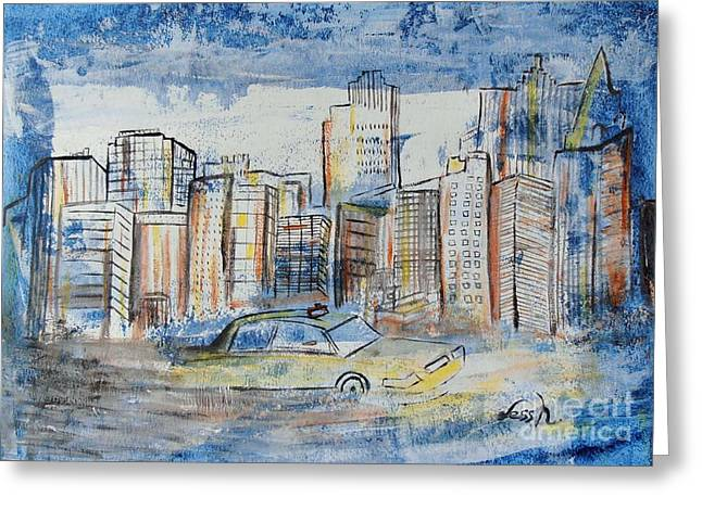 Nyc Posters Paintings Greeting Cards - New York City Greeting Card by Jessie Art