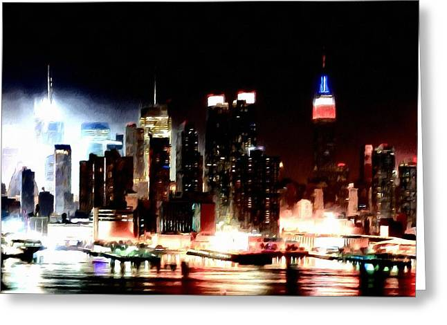 Midtown Paintings Greeting Cards - New York City Greeting Card by Lanjee Chee