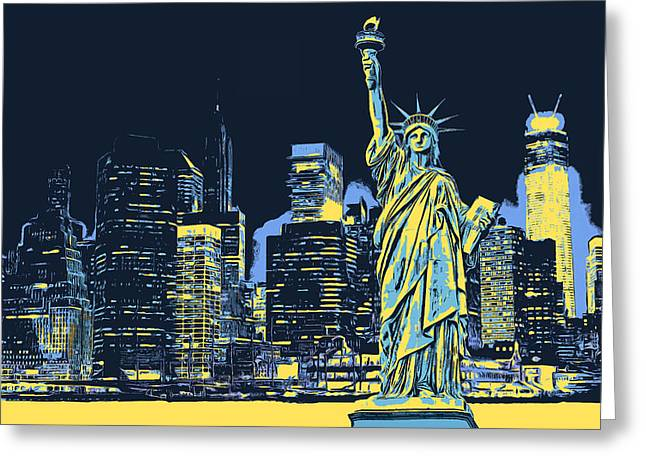 York Greeting Cards - New York City Liberty Statue Greeting Card by - BaluX -