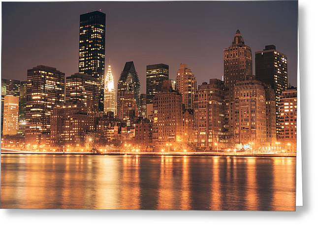 New York City Greeting Cards - New York City Lights - Skyline at Night Greeting Card by Vivienne Gucwa